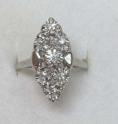 ANTIQUE 1/3 ct natural (REAL) DIAMOND ENGAGEMENT ring SOLID 14 k white GOLD