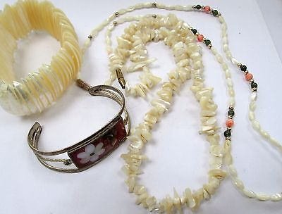 Good vintage mother-of-pearl, coral & jade bead necklace + cuff bracelet + 2