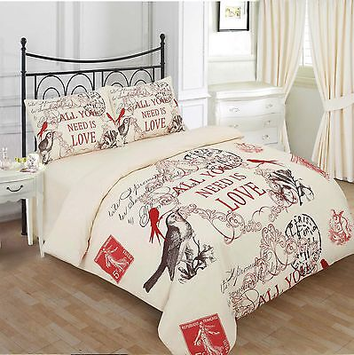 Duvet Quilt Cover with Pillow Case Bedding Set Size Double Design CHARLOTE CREAM