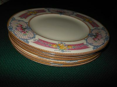 5 ROYAL WORCESTER PINK MARSEILLES DINNER PLATES in MINT UNUSED CONDITION