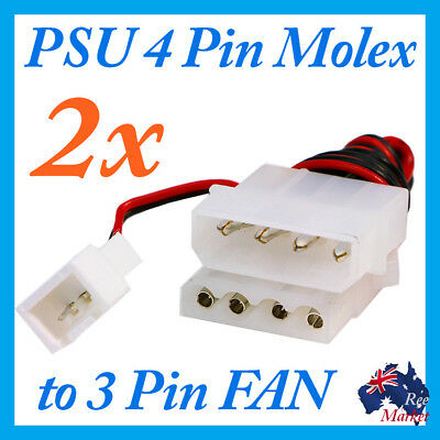 2 x PSU to Molex 4pin to 3pin Fan Socket Cable Converter Adapter