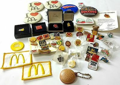 Lot of 54 Vintage McDonalds Employee Memorabilia Pins Badges Collectibles