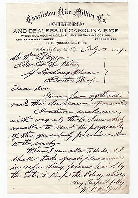 1889 Charleston Rice Milling Co, South Carolina Letter - W P Russell