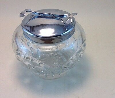 Vintage Chrome glass sugar bowl with integral  tongs
