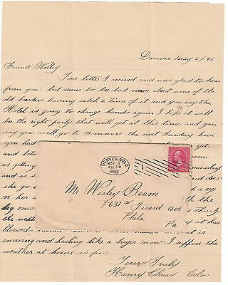 1898 Denver Colorado Letter - Henry Claus to Wesley Beam, Cover
