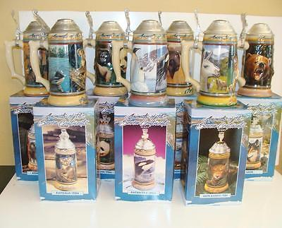 Complete Set Of 7 Budweiser Animals Of The Seven Continents Series Steins, MIB