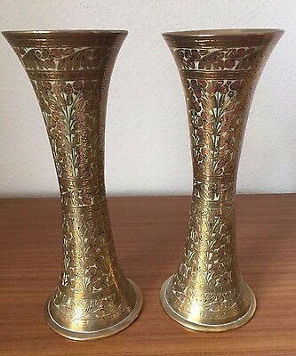 Pair of Indian Brass Vases