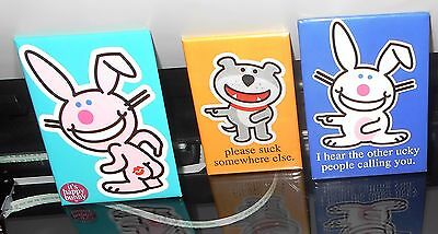 3 HAPPY BUNNY MAGNETS ~ brand new~