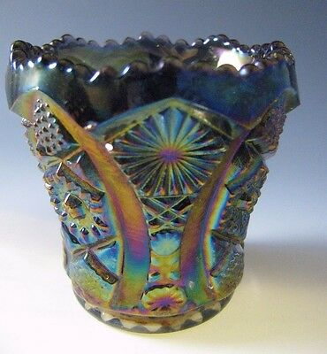 Vintage Octagon Imperial Glass AMETHYST Carnival over Blue Toothpick Holder