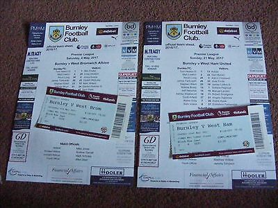 2016/17 Burnley v WBA West Brom  TEAMSHEET with TICKET