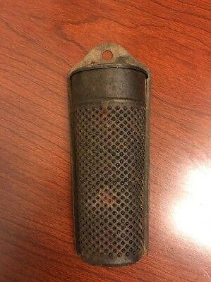 """Vintage Antique Tin Spice Cheese Grater Hinged Lid Small 5 1/4"""" Tall"""