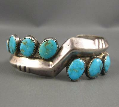 Vintage Zuni Fred Bowannie Cast Sterling Natural Turquoise Cuff 60 Grams