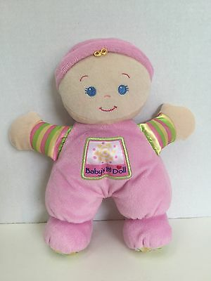 """Fisher Price Baby's First 1st Doll RATTLE Plush Toy 10"""" Pink Girl Lovey 2008"""