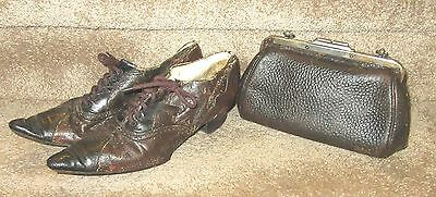 Antique Edwardian Leather  Matching Shoes and Purse - Display/Repair