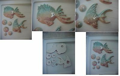 Vintage Fish Ceramic Bubbles Bathroom Decor Speckled Retro Mid Century 50's