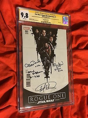 Cgc Ss 9.8~Star Wars Rogue One #1~Signed Forest Whitaker+Daniels+Ahmed+Tudyk~