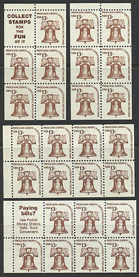 13¢ Liberty Bell US Stamp Booklet Panes Sc# 1595a, 1595b, 1595c, 1595d