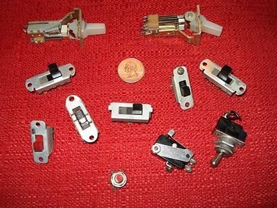Lot of 11 Vintage Slide Toggle Electronic Switches UID SwitchCraft