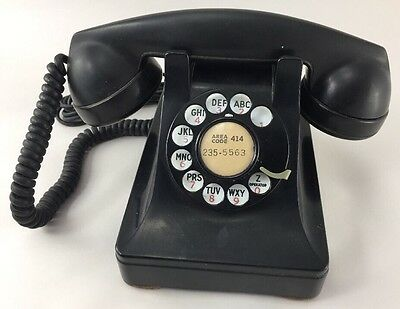 Vintage Bell Systems Western Electric F1 Black Rotary Dial Desk Phone Art Deco