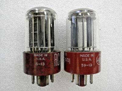 Vacuum tube RCA 5691 6SL7 RED base 5 Rod ------- Matched  Pair --------