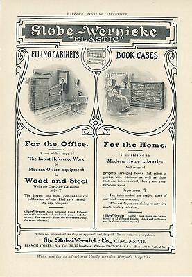 1909 Globe Wernicke Ad Bookcases Filing Cabinets Art Nouveau Arts & Crafts