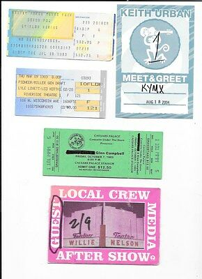 15 Country Ticket Stubs And Passes Emmylou Willie Urban Lynn Pride Mcgraw Travis
