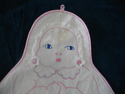 VINTAGE BABY LAUNDRY EMBROIDERED BAG 30's 40's ? BABY FACE