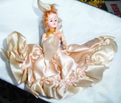 Vintage 5 1/2 inch doll w/ dress, painted on shoes, eyes closed Plastic?  Poly?