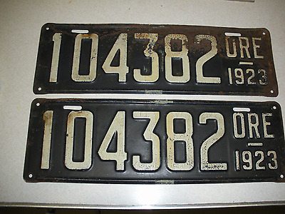 Pair 1923 Oregon License Plates Check Them Out