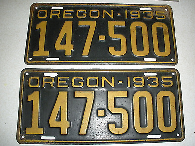 Pair   1935 Oregon License Plates Check Them Out