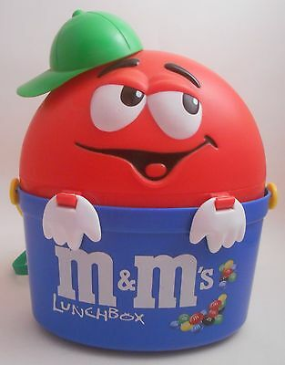 European M&M's Red Blue & Green Lunchbox Combo EUC UK Thermos Camping School