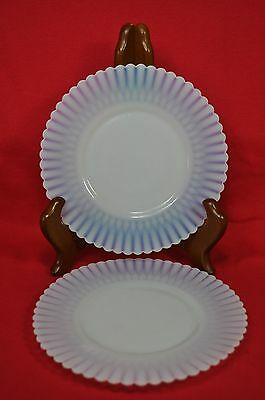 2 Vintage Opalescent Translucent White Milk Glass Dessert Plates