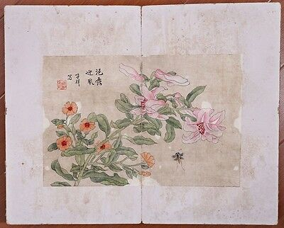 Rare Antique Chins Hand Painting Flowers And Birds Book Marks ZhangXiong KK474