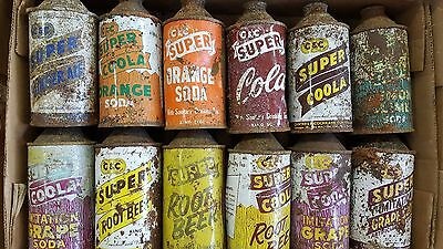 cone top soda can Super cola collection root beer cola orange ginger ale grape