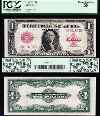 Awesome HIGH GRADE 1923 $1 RED SEAL US Note! FREE SHIP! PCGS 58! A9781874B