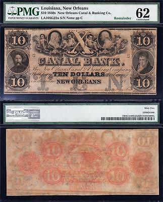 Amazing UNCIRCULATED $10 Canal Bank New Orleans, LA Obsolete Note! PMG 62! TC90