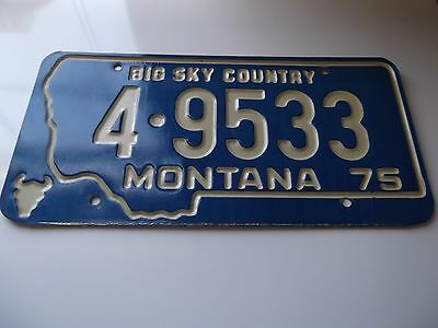 Vintage Montana License Plate Authentic Car Antique 1975 Big Sky 70s