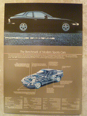1987 Porsche 944 & 944 S Showroom Advertising Sales Poster RARE!! Awesome L@@K