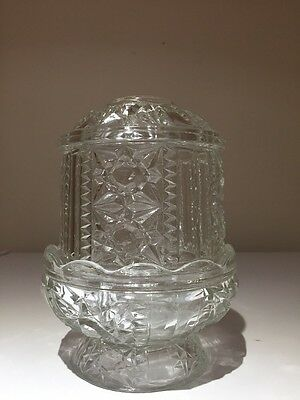 """Vintage Indiana Stars & Bars Fairy Candle Lamp Clear Glass 6-1/4"""" Tall Excellent"""