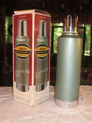 Vintage 1973 Aladdin Stanley Unbreakable Steel Hot / Cold Thermos 2 Quart A-945B
