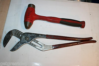 """SNAP-ON TOOLS DEAD BLOW BALL PEEN 32oz HAMMER & LARGE 20"""" ADJUSTABLE PLIERS 2pc"""