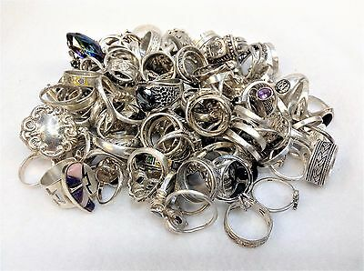 150 STERLING SILVER RING LOT Vintage to Modern / Wearable - NOT SCRAP