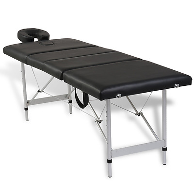 Aluminium Portable Massage Table 4 Fold Beauty Therapy Bed Waxing 68cm Black