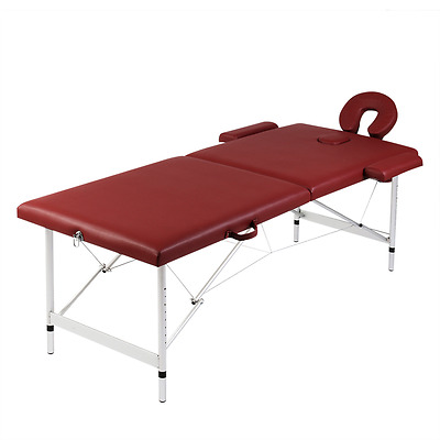 S# Aluminium Portable Massage Table 2 Fold Beauty Therapy Bed Waxing 68cm Red