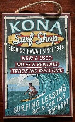 KONA SURF SHOP Surfing Lessons Beach Rustic Wood Surfer Home Decor Sign - NEW