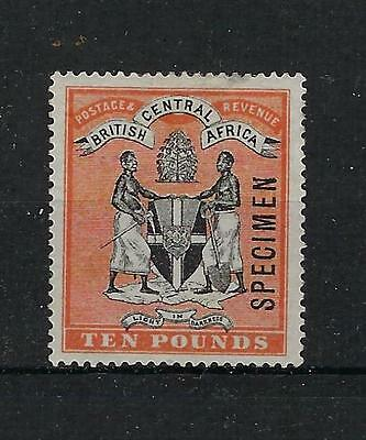 British Central Africa Scott/gibbons #41 1896 Ten Pounds Specimen Mint Hr