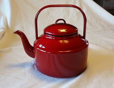 Red Graniteware Enamel Tea Pot Kettle