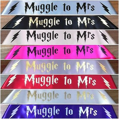 Harry Potter Muggle To Mrs Personalised Hen's Night Party Sash 20 Colours