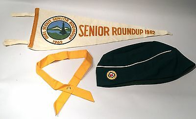 Vintage 1962 Girl Scout LOT Senior Roundup PENANT flag Hat/Cap Uniform Tie RARE
