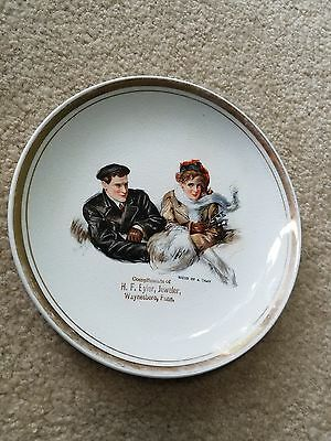 Small PLATE DRESDEN CHINA SIGNS OF A THAW Boy Girl 1910s WAYNESBORO PA EYLER JWL